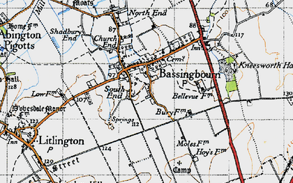 Old map of Bassingbourn in 1946
