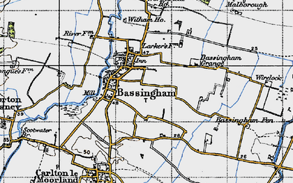 Old map of Bassingham in 1947
