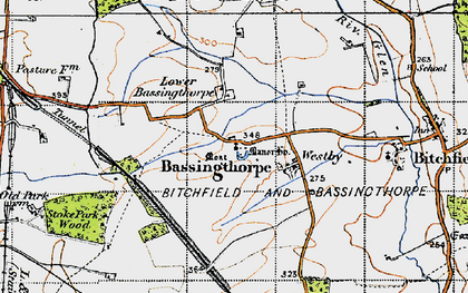 Old map of Bassingthorpe in 1946