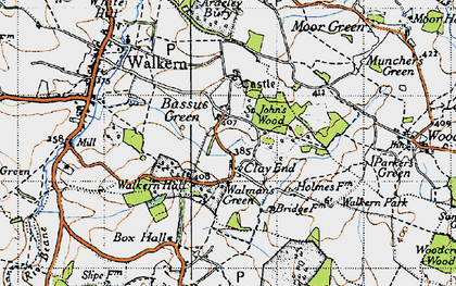 Old map of Bassus Green in 1946