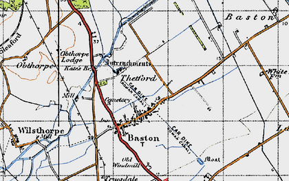 Old map of Baston in 1946