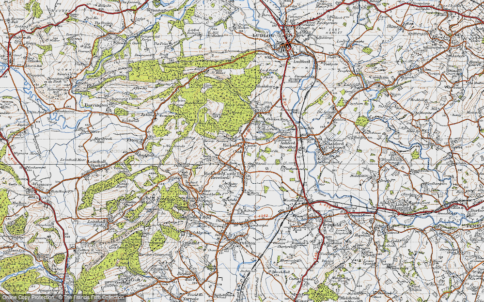 Old Map of Historic Map covering Woodcroft in 1947