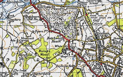 Old map of Batchworth Heath in 1945