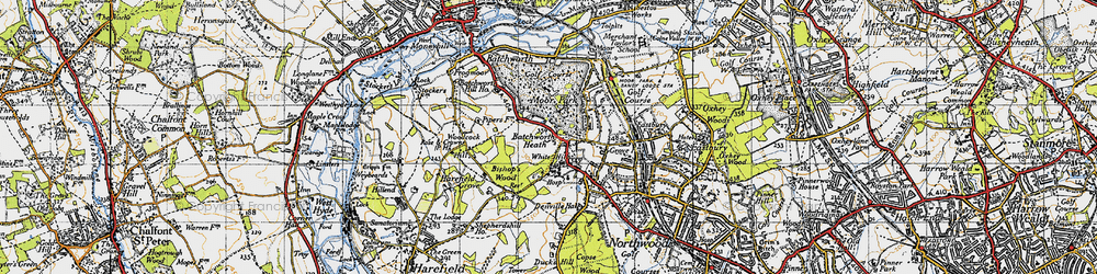 Old map of White Hill in 1945