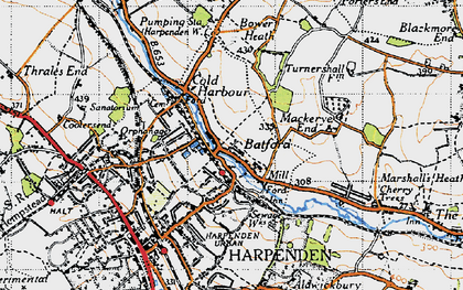Old map of Batford in 1946