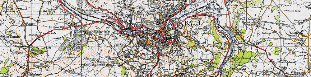 Old map of Bath in 1946