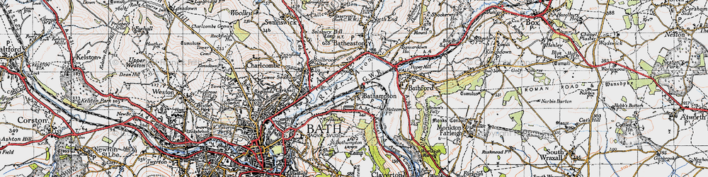 Old map of Bathampton in 1946