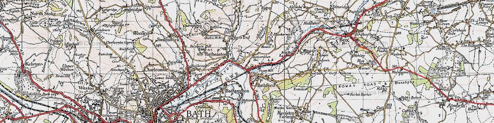 Old map of Batheaston in 1946