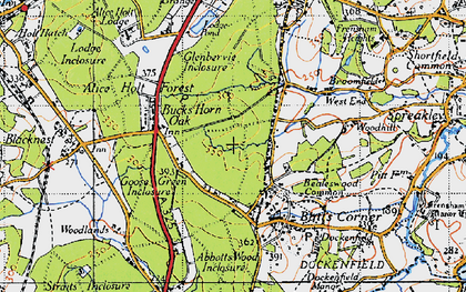Old map of Willow's Green Inclosure in 1940