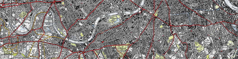 Old map of Battersea in 1945