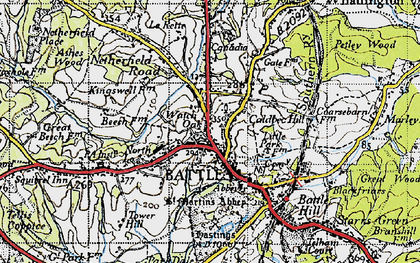 Old map of Battle in 1940