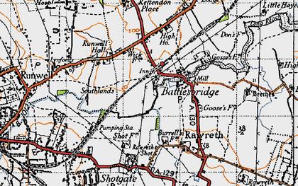 Old map of Battlesbridge in 1945