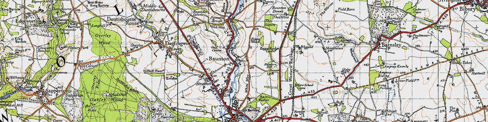Old map of Wiggold in 1947