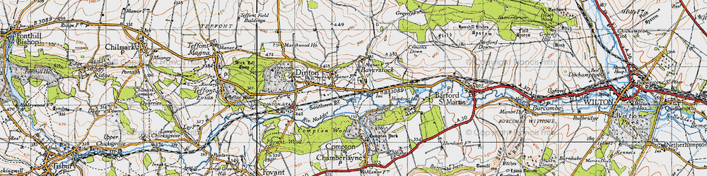 Old map of Baverstock in 1940