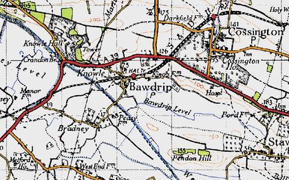 Old map of Bawdrip in 1946