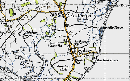 Old map of Bawdsey in 1946