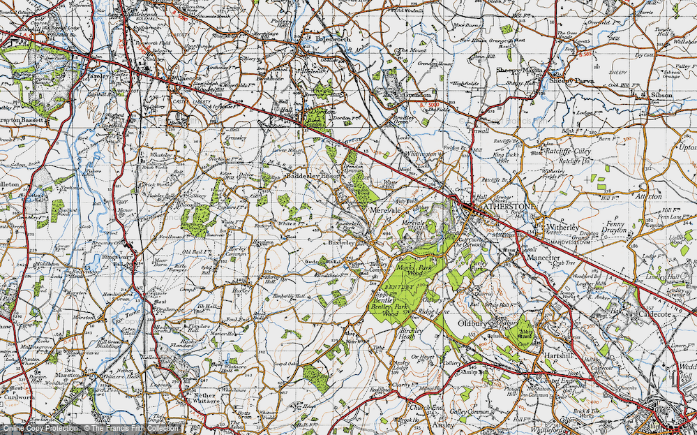 Old Map of Historic Map covering Baddesley Common in 1946