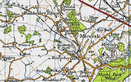 Old map of Baxterley in 1946