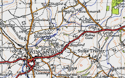 Old map of Bayford in 1945