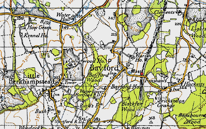 Old map of Bayford in 1946