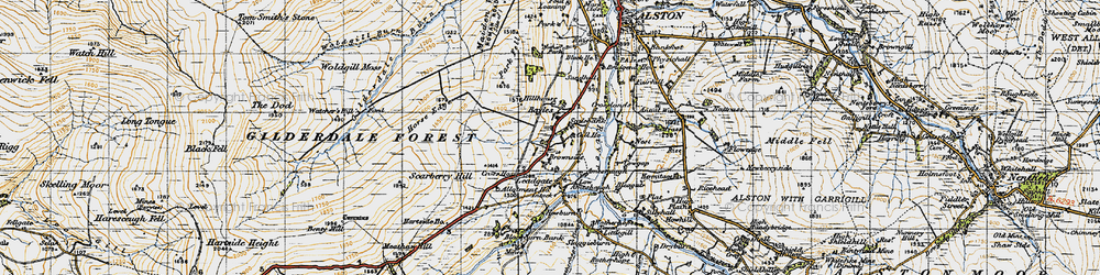 Old map of Woldgill Moss in 1947