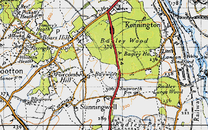 Old map of Bayworth in 1947