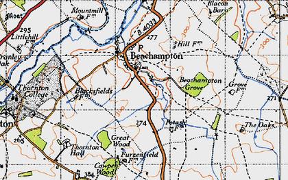 Old map of Beachampton in 1946