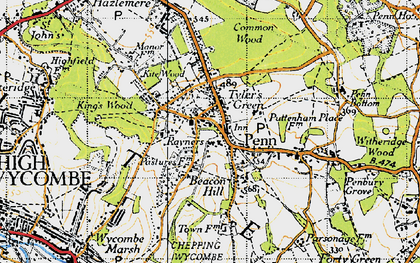 Old map of Beacon Hill in 1945
