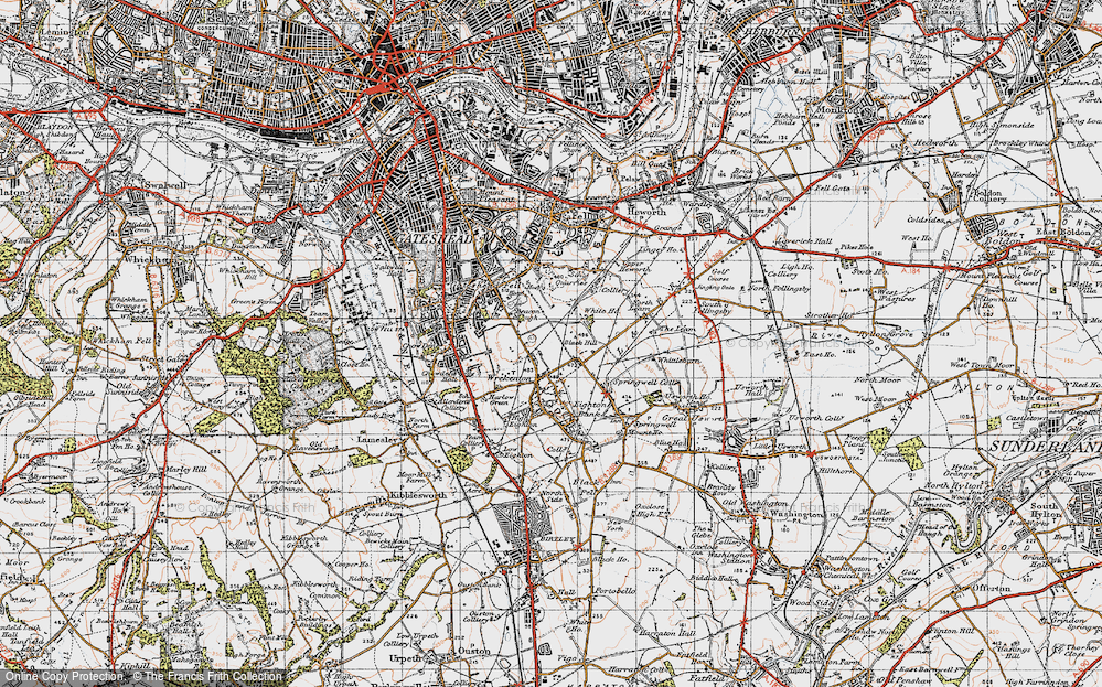 Old Map of Beacon Lough, 1947 in 1947