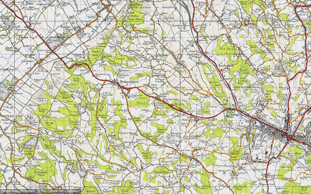 Old Map of Beacon's Bottom, 1947 in 1947