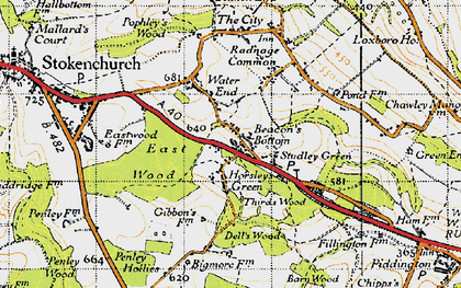 Old map of Beacon's Bottom in 1947