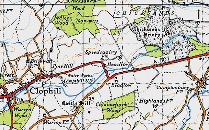 Old map of Beadlow in 1946