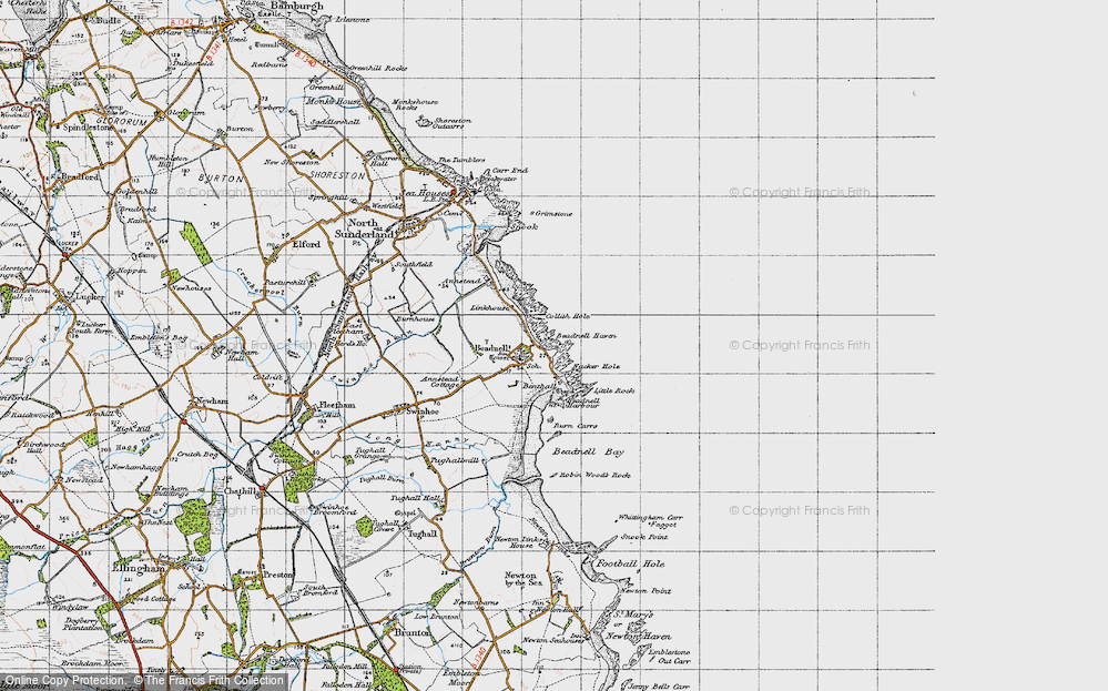 Old Map of Beadnell, 1947 in 1947