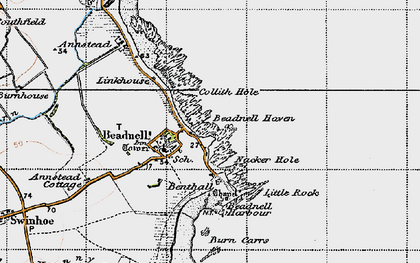 Old map of Beadnell in 1947