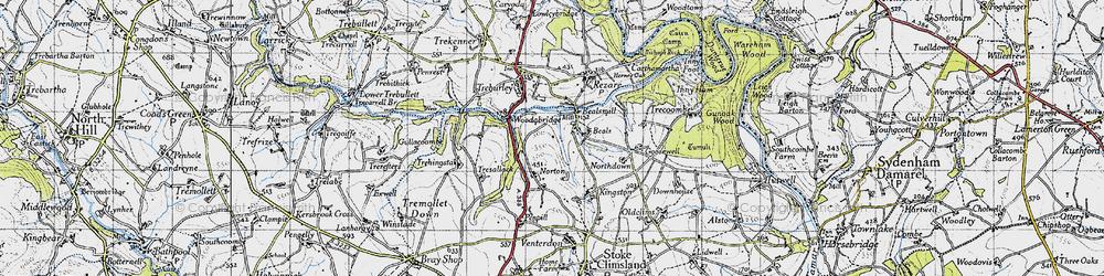 Old map of Wooda Bridge in 1946