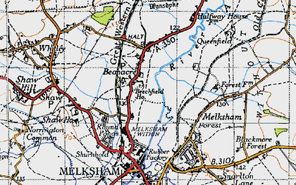 Old map of Beanacre in 1940