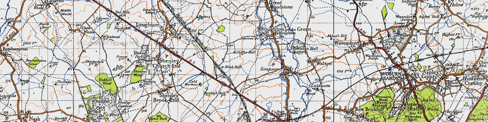Old map of Beanhill in 1946