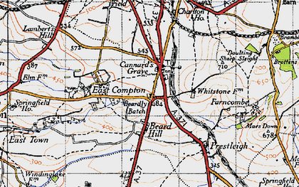 Old map of Beardly Batch in 1946