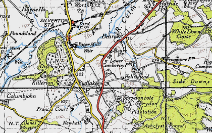 Old map of Killerton Park in 1946