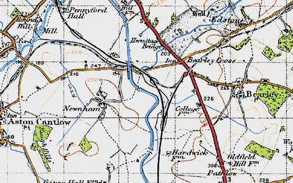 Old map of Bearley Cross in 1947