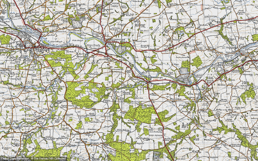 Old Map of Historic Map covering White Hemmels in 1947