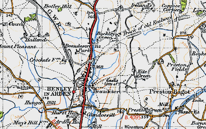 Old map of Beaudesert in 1947