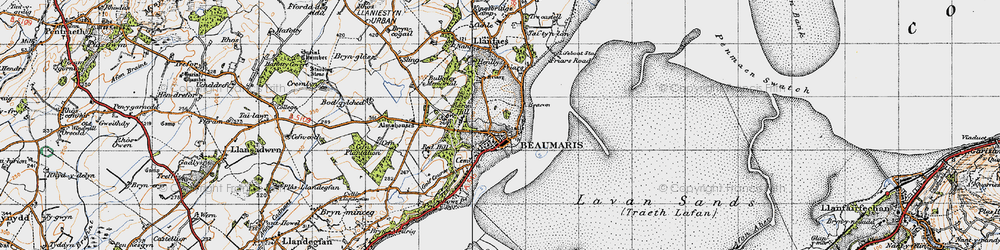 Old map of Beaumaris in 1947