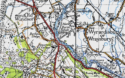 Old map of Beaumont in 1940