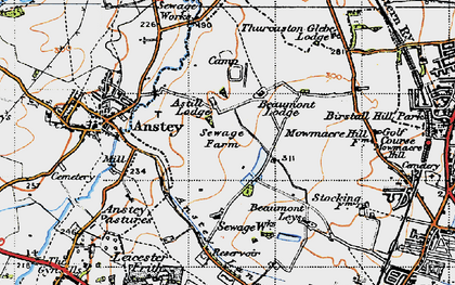 Old map of Beaumont Leys in 1946