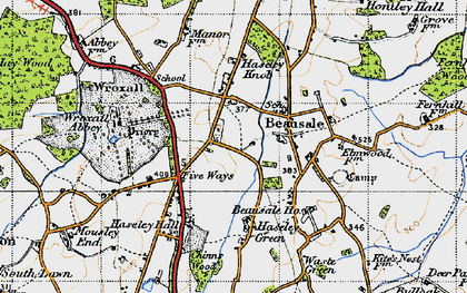 Old map of Beausale in 1947