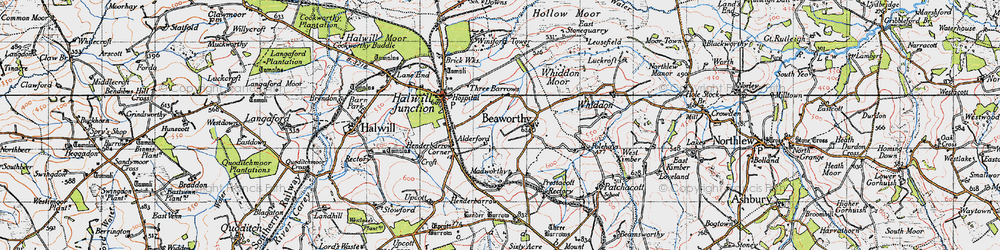 Old map of Whiddon Moor in 1946