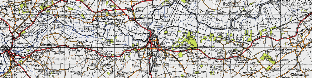 Old map of Beccles in 1946