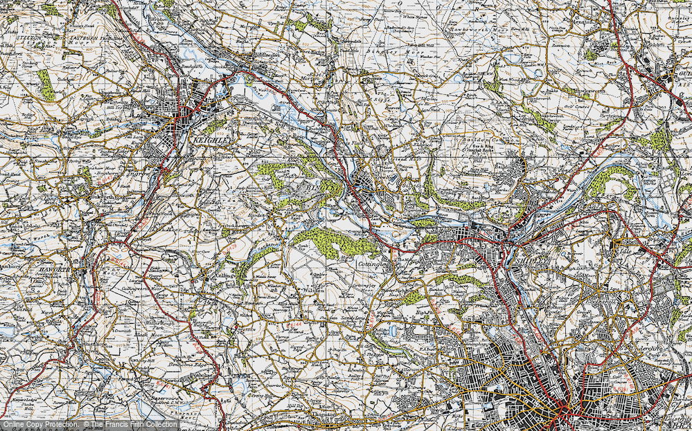 Old Map of Historic Map covering Wood Bank in 1947