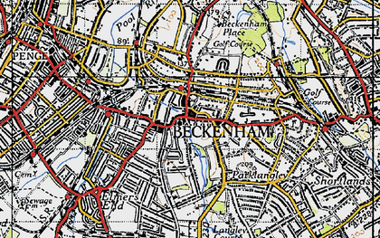 Old map of Beckenham in 1946